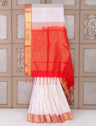White and red color silk fabric saree