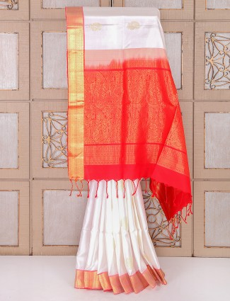 White and red color silk saree for festive