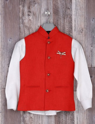 White and red jute party waistcoat