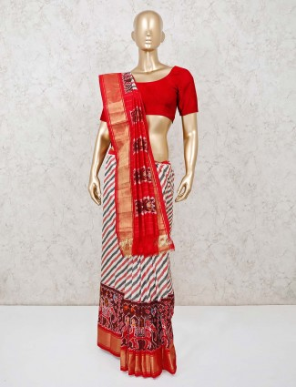 White and red stripe saree in hydrabadi patola silk