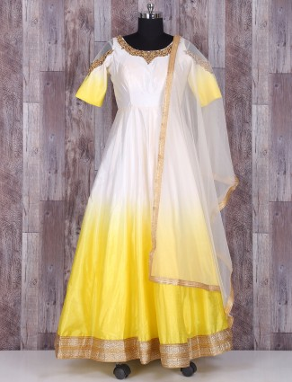 White and yellow silk anarkali suit