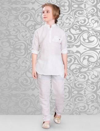 White beige cotton festive wear pathani suit