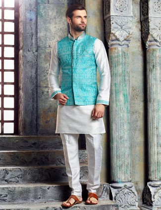 White blue raw silk waistcoat set