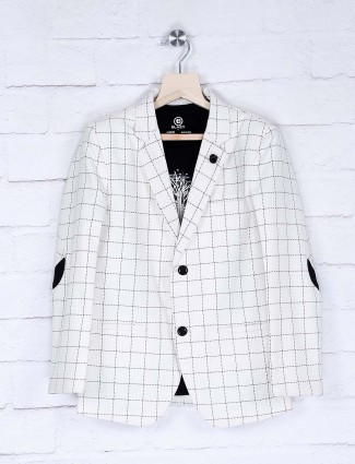 White checks pattern terry rayon blazer