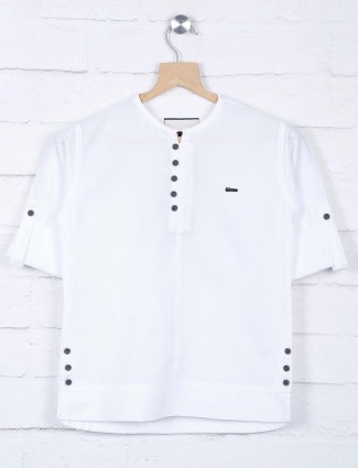 White color cotton casual wear shirt