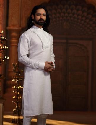 White color cotton silk kurta suit