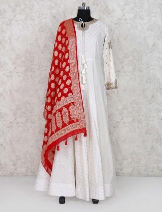 White color cotton silk party anarkali salwar suit