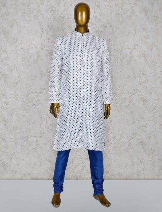 White color cotton silk printed pattern kurta suit