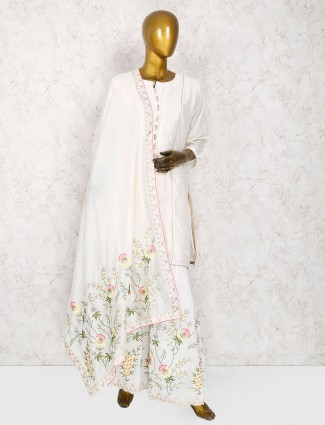 White color cotton silk punjabi sharara suit