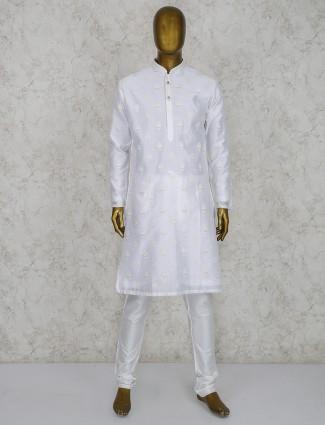 White color festive wear cotton kurta suit