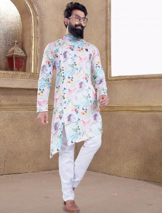 White color printed kurta suit