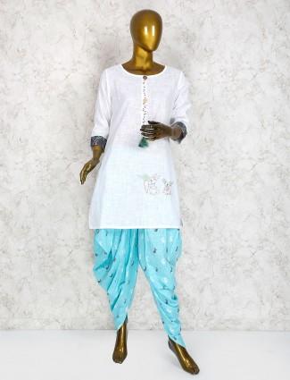 White color punjabi dhoti suit in cotton