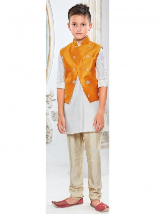White color silk fabric waistcoat set