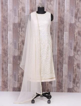 White color silk festive wear palazzo suit