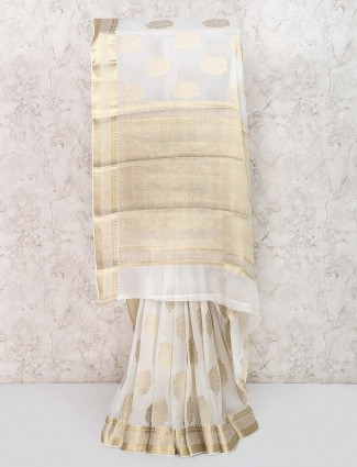 White color simple saree in georgette