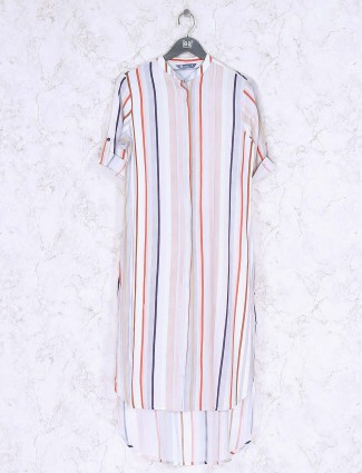 White color stripe pattern knitted top