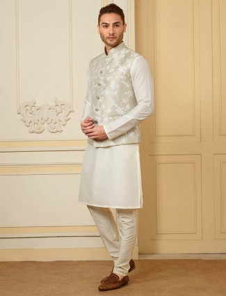 White color terry rayon fabric waistcoat set