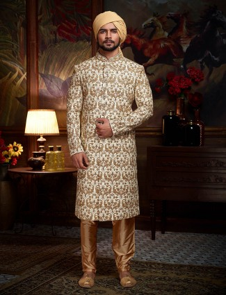 White color wedding wear sherwani