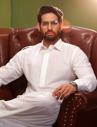 White cotton dressy festive wear pathani suit