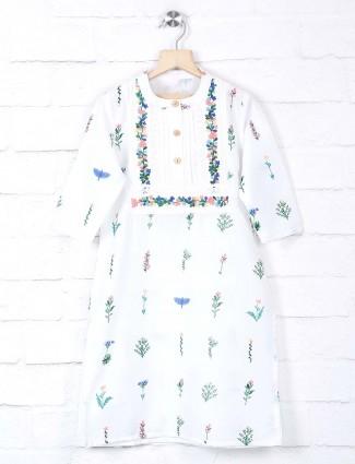 White cotton embroidery kurti