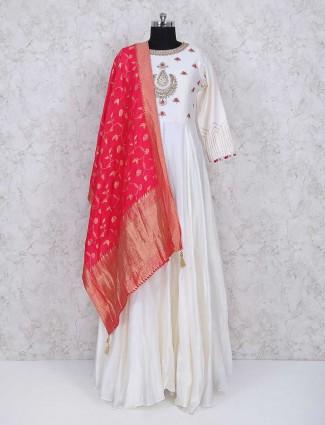 White cotton fabric anarkali suit