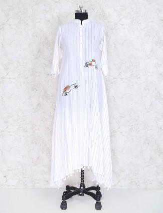 White cotton fabric casual kurti