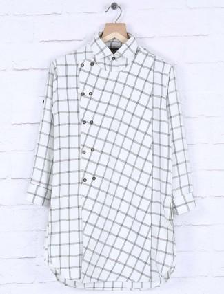 White cotton fabric checked kurta