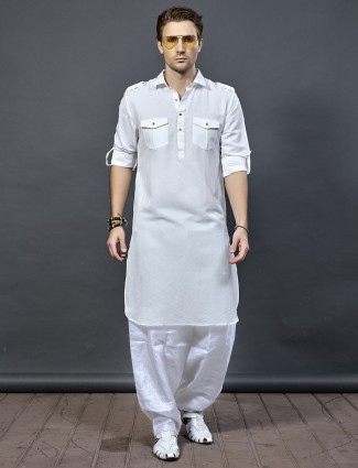 White cotton fabric pathani suit
