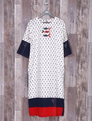 White cotton fabric printed kurti