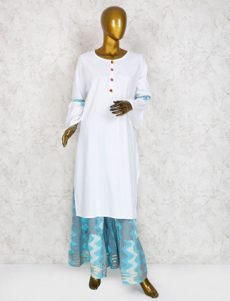 White cotton fabric punjabi sharara suit