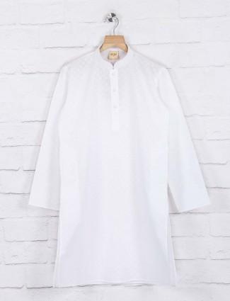 White cotton fabric zitter pattern kurta suit