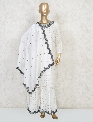 White cotton festive attire punjabi sharara suit
