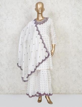 White cotton festive wear punjabi sharara suit