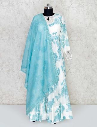 White Cotton Floor Length Anarkali Salwar Suit For Festivals
