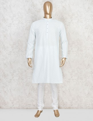 White cotton kurta with churidar