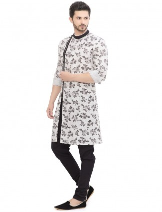 White cotton linen printed kurta suit