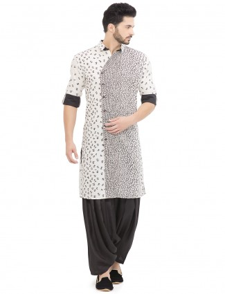 White cotton linen simple kurta suit