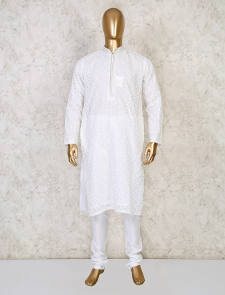 White cotton mens kurta suit with lucknowi thread work
