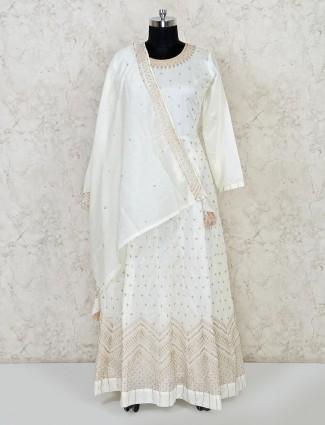 White cotton party anarkali salwar suit