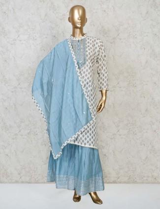 White cotton printed pattern punjabi sharara suit