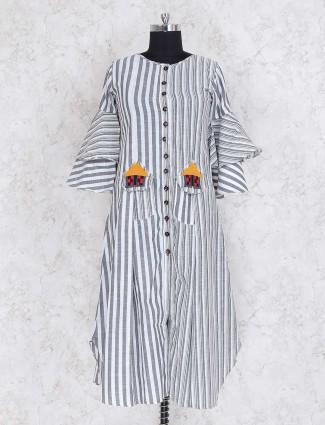 White cotton stripe casual kurti