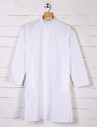 White cotton thread weaving kurta suit