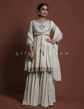 White cotton wedding wear punjabi sharara suit