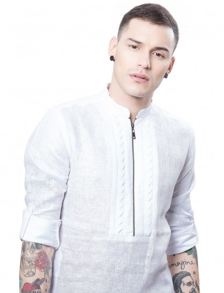 White designer cotton kurta suit