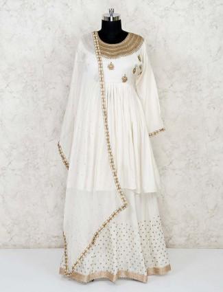 white designer lehenga suit in cotton silk