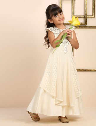 White designer raw silk girls gown