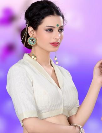 White designer knitted ready made blouse