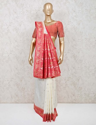 White designer saree in dola silk