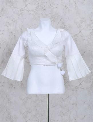 White designer silk ready made blouse