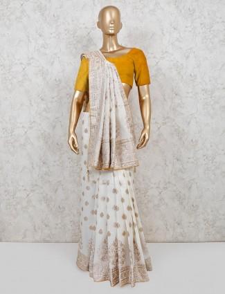 White dola silk reception wear saree